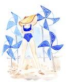 Illustrationsskizzenfrau in einem Strohhut, der in einer Badeanzugstrandkleidung steht Lizenzfreie Stockfotografie
