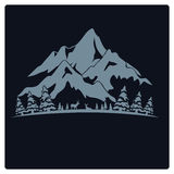 Illustrationst-shirt und Logogebirgsdesignweinlese Lizenzfreies Stockbild