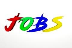 Illustrationstext der Jobs 3d mit buntem rotem grün-blauem und gelb lizenzfreies stockfoto