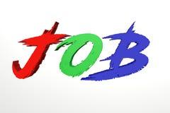 Illustrationstext des Jobs 3d mit buntem rotem grün-blauem und gelb stockfotos