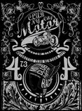 Illustrationstypographiet-shirt Drucken-motorcycl der Weinlese Retro- Lizenzfreie Stockbilder