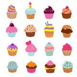 Illustrationsvektor der kleinen Kuchen Vanilleschokoladen- und -kirschmuffinsatz Lizenzfreie Stockfotografie