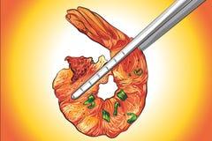 Illustrationsvektorzeichnung von Grill-Garnele BBQ-Art lizenzfreie abbildung
