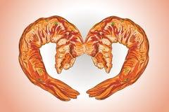 Illustrationsvektorzeichnung von Grill-Garnele BBQ-Art stock abbildung