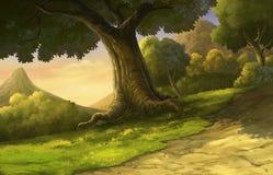 Illustrationswald und -sonnenuntergang schön Stockbild