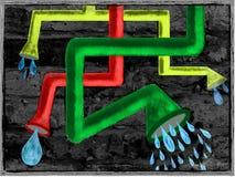 Illustrationswand mit Wasserleitungen Stockfotografie