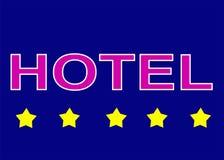 Illustrationszeichenlogo fünf spielen Hotel auf blauem Hintergrund die Hauptrolle lizenzfreies stockbild
