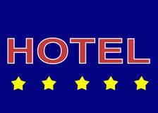 Illustrationszeichenlogo fünf spielen Hotel auf blauem Hintergrund die Hauptrolle lizenzfreie stockfotografie