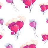 Illustrationszeichnungsherz steigt purpurrotes nahtloses Muster im Ballon auf Stockfotografie
