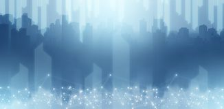 Illustrationszusammenfassungstechnologie in der Stadthimmel-Schaberansicht in blauen Ton lizenzfreies stockfoto