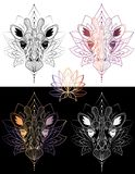 Illustrationt-skjorta för giraff head grafisk design och färg för tatuering 4 vektor illustrationer