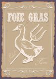 Illustrationtappningaffisch med and- och foiegras stock illustrationer