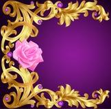 Illustrationtappningbakgrund med den guld- modellen för blomma och pre Arkivbild