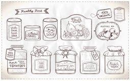 Illustrationuppsättning av på burk gods och etiketter Royaltyfri Foto