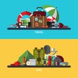 Illustrationuppsättning av turism, resande som fotvandrar royaltyfri illustrationer