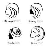 Illustrationuppsättning av kvinnan med härligt hår Arkivbild
