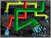 Illustrationvägg med vattenrör Arkivbild