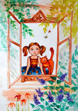 illustrationvattenfärg Lilla flickan med råttsvansar och en ljust rödbrun katt ser utanför, på naturen från fönsterramen Royaltyfria Foton
