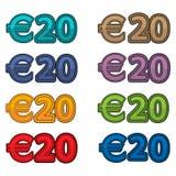 Illustrationvektor av pris 20 euro, Europa valuta Arkivbild