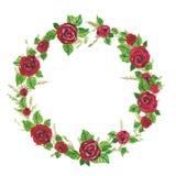 Illustrationwreath de la acuarela de las rosas rojas y de las ramas verdes, licencia Ejemplo para las tarjetas de felicitación, i Foto de archivo