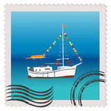 Illustratiuon of a postage stamp with sailing ship Stock Photography