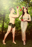 Illustrative Adam and Eve Conceptual Image Stock Photo