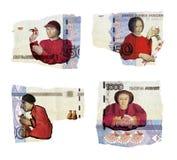 Illustrative artykuł wstępny Illustrative kolaż ludzie nieba niebieskie tło szczęśliwe rodzinne kobiet Różna postawa pieniądze Mi zdjęcie stock