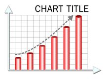 Illustrative chart, template with red columns and rising trend curve, infographic element. Vector EPS 10 Royalty Free Stock Photos