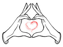 Illustrative concept of love. Hands showing heart, love theme or Valentine illustration Royalty Free Stock Images