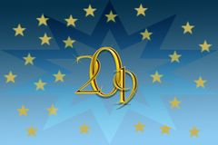 2019 Happy New Year background with gold stars and blue background. Illustrative 3d background with 2019 happy new year background with gold stars and numbers vector illustration