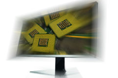 Illustrative Editorial image of 4K Monitor isolated on white. With postproduction effects Royalty Free Stock Photos