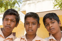 Illustrative editorial image, portraits of school students. Pondichery, Tamil Nadu, India - March 03, 2014. In the school, portraits of indian boys and girls Royalty Free Stock Images