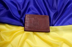 Illustrative editorial. Kiev. Ukraine. February 12, 2019. Leather case for Identity of enemy combatants of Ukraine lies on the royalty free stock photography