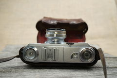Illustrative, editorial photo of old cameras and lenses Royalty Free Stock Images