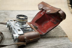 Illustrative, editorial photo of old cameras and lenses Stock Photo