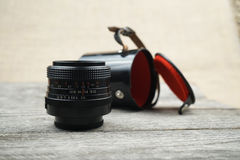 Illustrative, editorial photo of old cameras and lenses Stock Photography