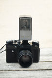 Illustrative, editorial photo of old cameras and lenses Stock Photos