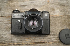 Illustrative, editorial photo of old cameras and lenses Royalty Free Stock Photos