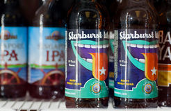 Illustrative editorial picture with bottle English Ale style beer brewed by Saugatuck Brewing Company Royalty Free Stock Images