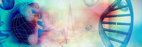 Composite image of illustrative image of a blue colored heart. Illustrative image of a blue colored heart against medical background with blue ecg line Stock Image