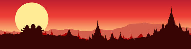 Illustrative panoramic view of Bagan in Myanmar Stock Images