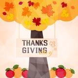 Illustraton del vector del árbol del día de la acción de gracias de la impresión libre illustration