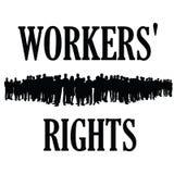 Illustraton della siluetta di diritti dei lavoratori Fotografia Stock Libera da Diritti