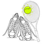 Illustraton of drawing isolated objects sneakers withtennis racquet and ball. Hand drawn and doodle footwear for logo. Royalty Free Stock Images