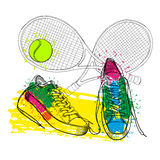 Illustraton of drawing isolated objects sneakers withtennis racquet and ball. Hand drawn and doodle footwear for logo. Royalty Free Stock Photos