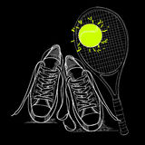 Illustraton of drawing isolated objects sneakers withtennis racquet and ball. Hand drawn and doodle footwear for logo. Stock Images