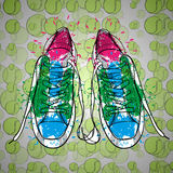 Illustraton of drawing  objects sneakers with tennis ball. Hand drawn and doodle footwear for logo. Stock Images