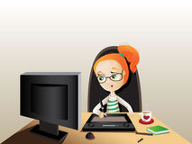 Illustrator. The girl draws by means of a tablet Stock Photography