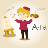 Illustrator of Artist alphabet Profession. Letter A Stock Image