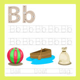Illustrator of b exercise A-Z cartoon vocabulary. For kid vector illustration